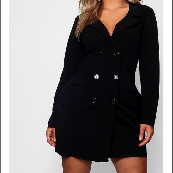 af43eb246d7 Plus Scuba Blazer Dress   Black